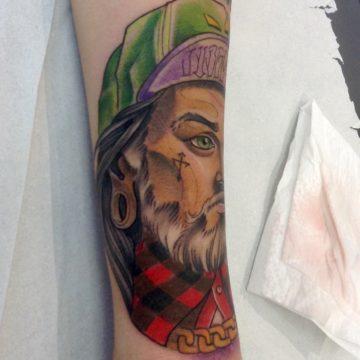 rosto neotradicional tatuagem