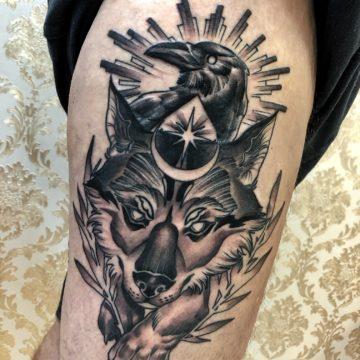 lobo – corvo – tatuagem