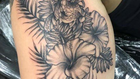 tatuagem-braço-flor-black