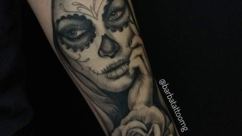 tatuagem-blackwork-caveira-mexicana