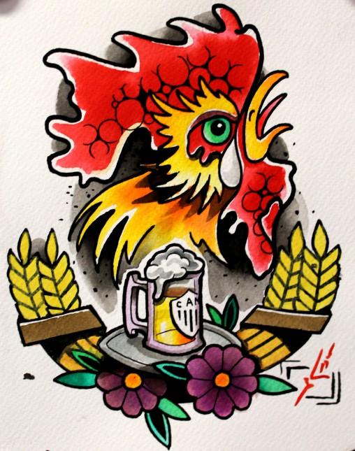 Galo-cerveja-cevada-pintura-tatuagem