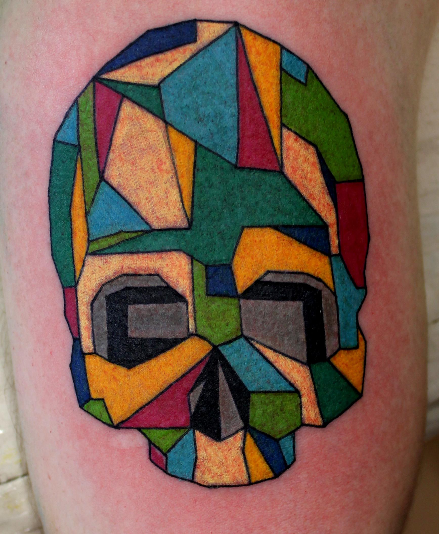 caveira colorida tatuagem